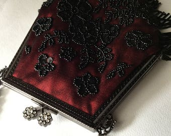 Belle Epoque style red silk jet beads embroidered evening purse