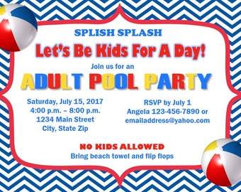 5x7 Printable Adult Pool Party Invitation- Red, Yellow, and Blue- Chevron