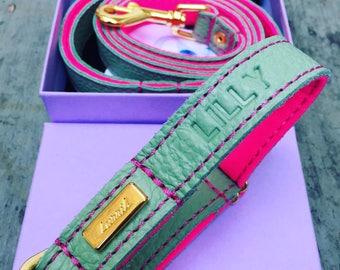 Dog Collar, Soft Leather dog collar, Mint green Leather and Wool Felt adjustable Dog Collar, Personalised Leather Dog Collar, UK