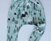 Organic Baby Pants / Leggings in Harem Style - Tree Tops - READY TO SHIP by Little Dreamer