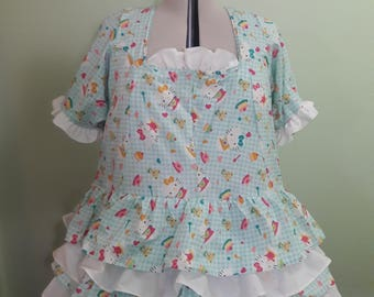 Handmade Lolita Dress - Plus Sized - Made To Order - 5 Tier Ruffle Skirt Design With Secondary Color