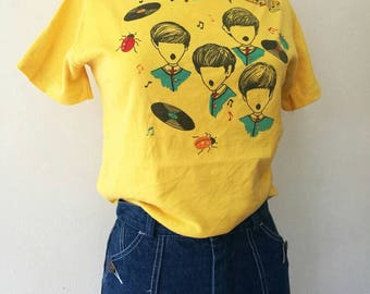 Vintage The BEATLES boat neck cropped T-shirt yellow