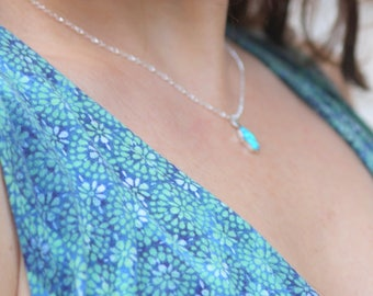 Blue Opal Hamsa Necklace on a Sterling Silver Chain  - Opal Hamsa - Hamsa opal necklace - 925 Sterling silver necklace blue opal