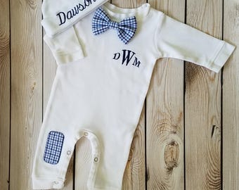 Baby boy coming home outfit etsy newborn boy outfit baby boy coming home outfit monogrammed baby boy personalized baby boy take home negle Choice Image
