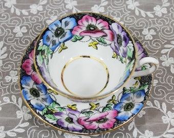 Vintage Taylor & Kent Black Purple Blue Pink Yellow Floral English Bone China Teacup and Saucer, Gifts for Her Tea Party