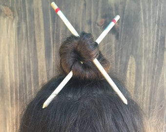 Set of 2 Hair Sticks | Hair Chopsticks | Gold Silver and Red Hair Accessory