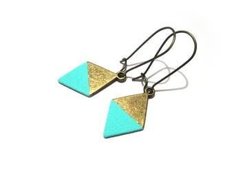 Aqua Green Geometric Triangle Earrings, Southwestern Brass Rhombus Earrings, Mint Boho Chic Earrings, Western Style / E533