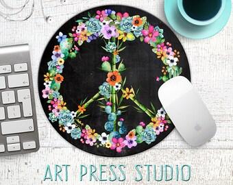 Peace Symbol Mouse Pad, Cactus Peace Sign Mousepad, Tropical Flowers Mousepad, Succulents, Flower Peace Sign Mousepad, Boho Cactus, Office