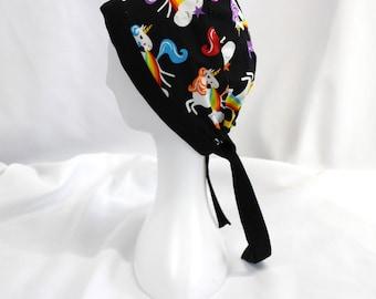 Unicorns Barfing Rainbows Surgical Scrub Cap Chemo Dental Hat