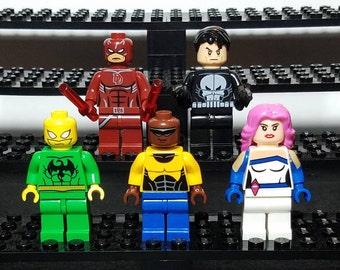 Defenders Set Of 5 Custom Marvel Comics Minifigures Daredevil Punisher Jessica Jones Luke Cage Iron Fist  (LEGO Compatible)