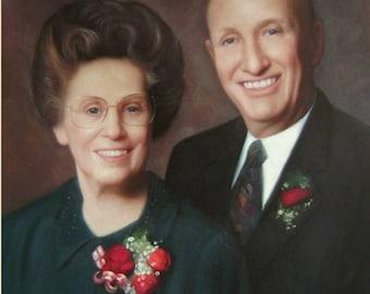 2 Subjects. Grandparents Custom Portrait. Custom oil Painting. Oil Painting. Parents Custom Portrait. Personalized Portrait.Anniversary gift