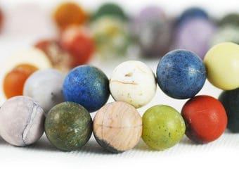 Semi-Precious Gemstone Mix Multi-Stone Strand Matte Round Beads Strand 10mm