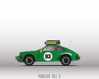 Porsche 911 Carrera cut 3.2 rally/safari_Couleur Verte_Affiche decorative_30x40cm