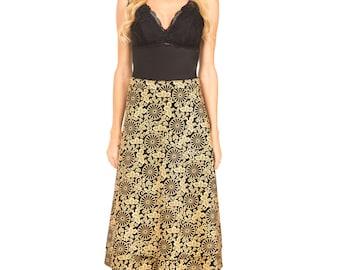 Hand Printed Crepe Silk Wrap Skirt Japanese Inspired Art, Present for her, Skirt, Silk Skirt, Wrap Skirt, Skirt for her, Gold Silk Skirt