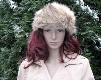 Vintage fur HAT CAP womens  hat romantic cut 1970s retro winter sable fur goat