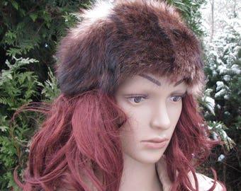 Retro winter HAT blue fox fur CAP women VINTAGE cossak hat
