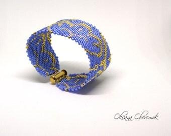 Beaded cuff elegant bracelet gold cuff bracelet tribal bracelet wife wrist cuff water lily boho bracelet blue gold cuff bracelet