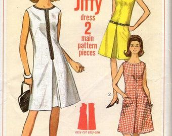 Free Us Ship Sewing Pattern Vintage Retro 1960s 60s 1966 Simplicity 6443  Bust 34 Mod Back Zipper Jiffy Dress Inverted Pleat Uncut