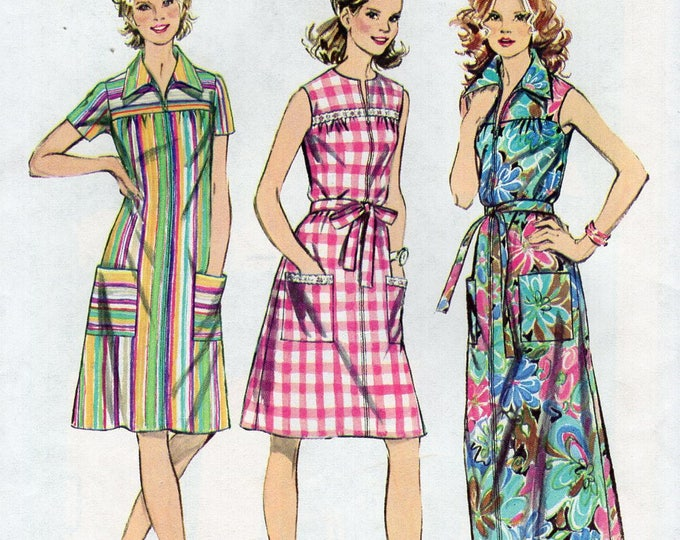 FREE US SHIP Simplicity 5028 Vintage Retro 1970's 70's miss Smock Dress Maxi Housedress Robe Uncut  Sewing Pattern Bust 32.5