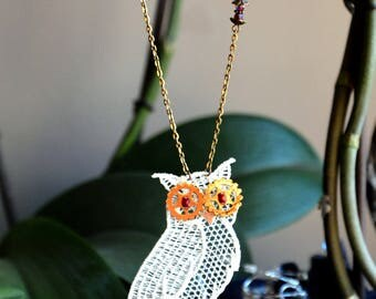 "Necklace Steampunk lace owls ""Steam Lace Stories"""