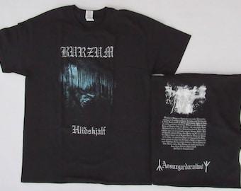 Brand New Burzum HLIDSKJALF Varg Vikernes Front and Back Print Shirt Small, Medium, Large, XL Available Free Same Day Shipping