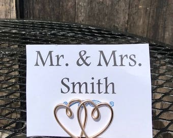 Heart Place Card Holders, Double Heart Wire Table Number Holders, Table Number Holder, Name Card Holder, Card Holder, Wire Card Holder,
