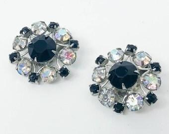 60s Weiss Earrings | Clear & Black Rhinestone Earrings