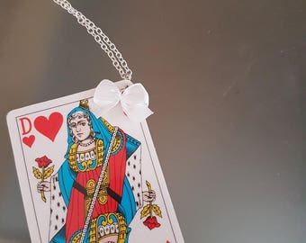 Necklace playing card Queen of hearts