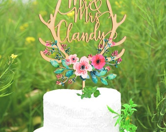 Cake Topper for Wedding, Personalized Wedding Cake Topper Printed with Colorful Floral Wreath,Custom Calligraphy Name Cake Topper VU011