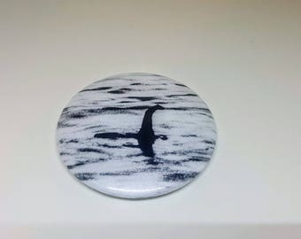 """Magnet or Pinback 2.25"""" Loch Ness Monster Nessie Cryptozoology Badge"""