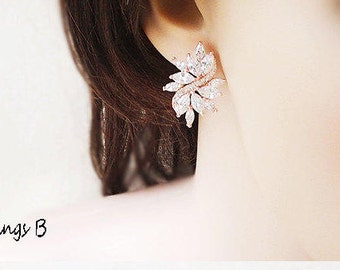 Rose Gold - CZ earrings