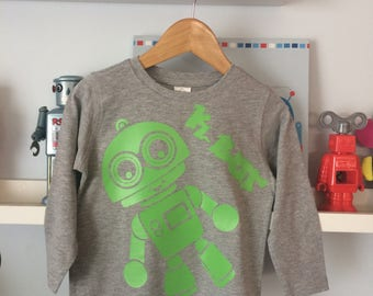 Green K-Bot on a Grey long sleeve tee perfect for any Robot loving toddler