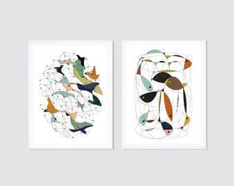 Wall art set, art print set, set of 2, modern art, modern prints, modern posters, mid century modern, giclee prints, prints set, posters set