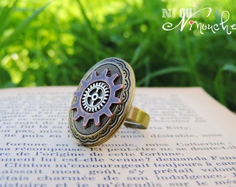Steampunk gears ring silver and copper Locket Victorian Locket antique retro vintage