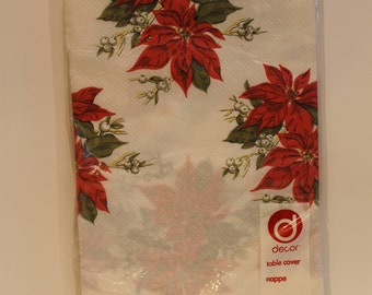 Vintage Christmas Paper Tablecloth - New in Plastic Poinsettia Pattern Paper Table Cloth - Vintage Xmas Party
