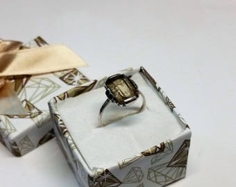 18 mm Art Nouveau ring silver 835 citrine shabby vintage antique old SR788