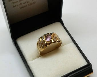 Nostalgic Ring Gold 333 with amethyst & Diamonds Stainless GR441