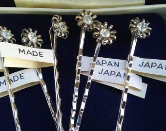 Vintage Bobby pins retro 6 silver metal rhinestone sparkle hair do Bride bridesmaid flower girl prom quincinera special style barrette Japan
