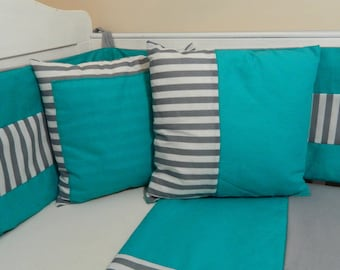 Turquoise and grey cushions