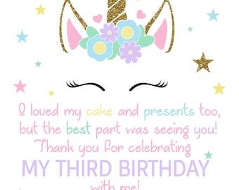 Unicorn Birthday Thank You / Unicorn Birthday Thank You Card / Unicorn Invitation / Magical Unicorn Thank You / Magical Unicorn/Digital File
