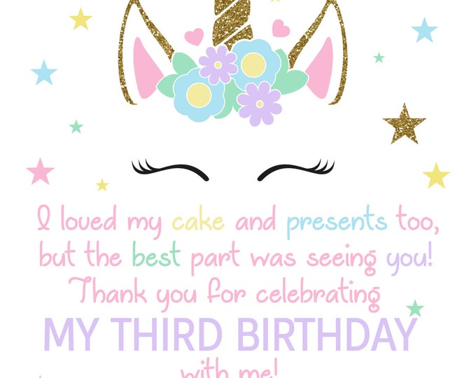 Unicorn Birthday Thank You / Unicorn Birthday Thank You Card / Unicorn Invitation / Magical Unicorn Thank You / Magical Unicorn/Digital File
