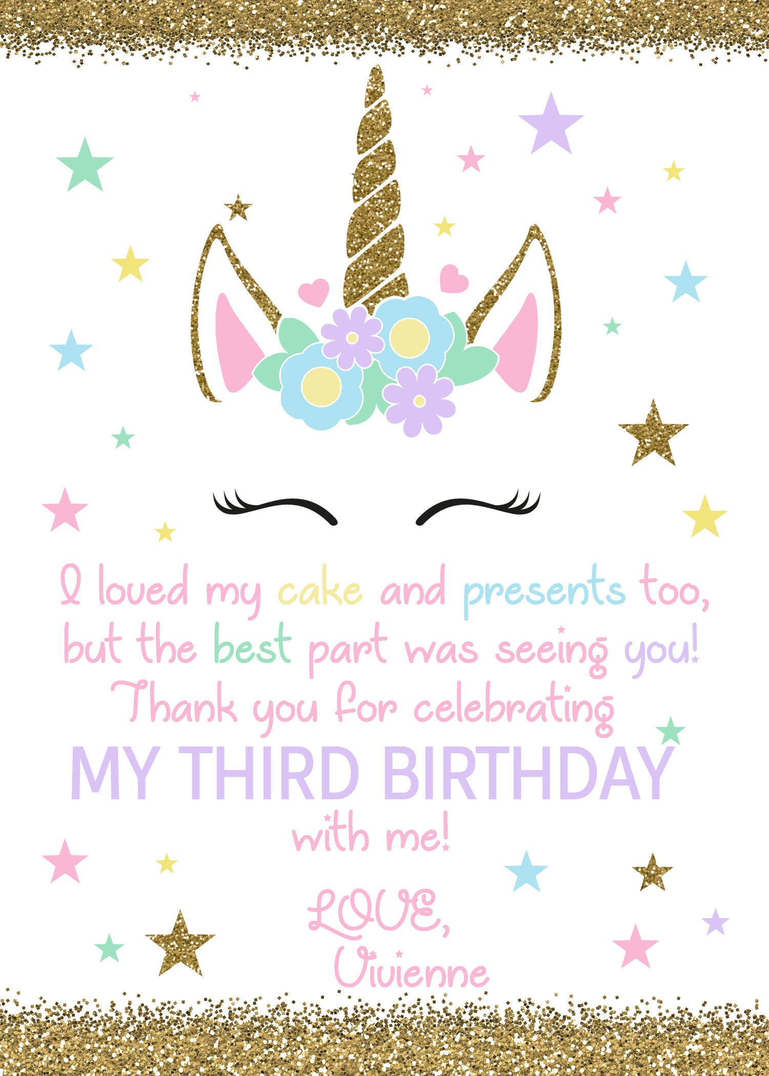 Unicorn Birthday Thank You Unicorn Birthday Thank You Card