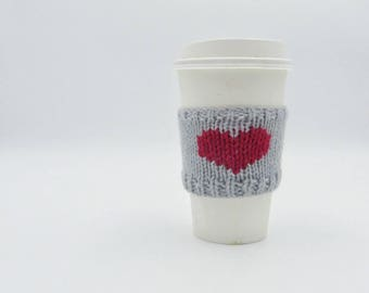 Light Grey Coffee Cup Sleeve | Red Heart Coffee Cosy | Valentines Day | Hand Knit Cup Cosy | Fits Starbucks Cup | Gifts For Her | Knit Cosy