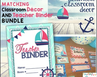 Nautical Teacher Binder & Classroom Decor Bundle