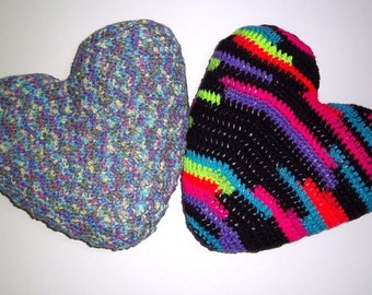 Handmade Colorful Crochet Heart Pillow, 100 Percent Acrylic Yarn, Choose One, Multi-Color Monet or Neon Stripes