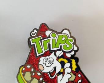 Trips are for Kids Green Red Glitter pin - Tricks Yogurt inspired