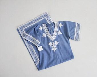 70s bohemian dress | blue tunic dress | 60s embroidered tunic