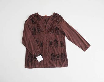 90s embroidered blouse | fringe blouse | brown ethnic blouse