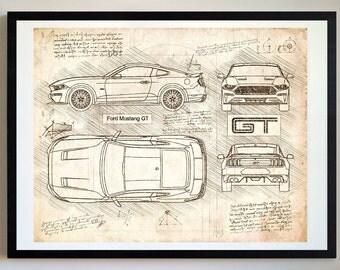 Ford Mustang GT (2018) Da Vinci Sketch, Mustang Artwork, Blueprint Patent Prints Posters, Mustang Decor, Art, Car Art, Cars (#267)