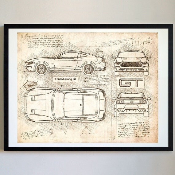 Ford mustang gt 2018 da vinci sketch mustang artwork like this item malvernweather Image collections